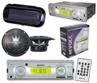 "200Watt Marine Boat In Dash MP3 USB SD AM FM Player W/Remote 2 4"" Speakers Cover"