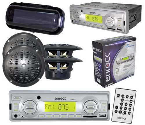 New Enrock Motorcycle Marine MP3 USB SD MMC Radio Receiver W/4 Speakers & Cover