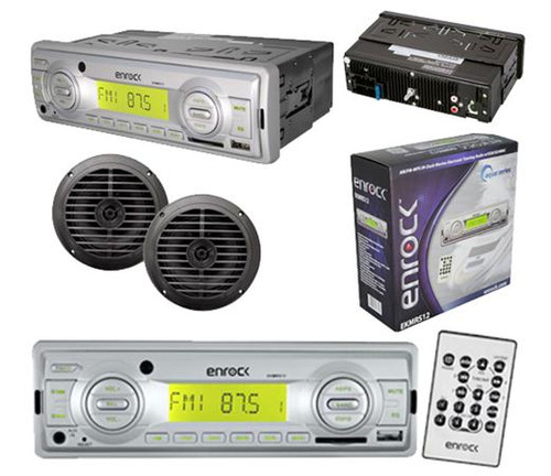 """In Dash Motorcycle Marine MP3 AUX USB SD MMC Receiver W/Remote 2 5.25"""" Speakers"""