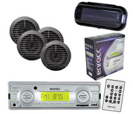 Enrock In Dash Marine Boat MP3 USB SD Stereo Media W/Remote 4 Speakers & Cover
