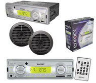 "200W Enrock In Dash Marine Boat MP3 USB AUX SD MMC Receiver Pair 2 6.5""Speakers"