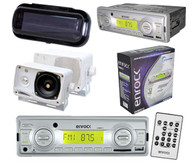 2012 New Silver Enrock Marine Boat MP3 USB SD MMC Stereo W/Remote 2 Speakers Pkg