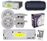 "New Outdoor Mobile Radio MP3 USB Port SD Card Input 4x 4"" Speakers + Cover White"