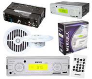 "New EKMRW10 Outdoor Radio USB Aux Input Player 2 x White 5.25"" Round Speakers"