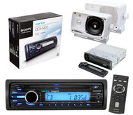 New 208 Watt Sony CDXM20 Marine Boat In Dash CD Radio Receiver + 2 Box Speakers