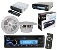"Boat Yacht Marine Radio CD/MP3 WMA Receiver AUX Input iPod Input 2 x 4"" Speakers"
