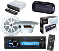 """Boat Marine Radio CD/MP3 Receiver AUX Input iPod Input 2 x 6.5"""" Speakers & Cover"""