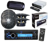 "Boat New Sony Media Player CD MP3 WMA iPod AUX Input w/ 4 x 4"" Speakers & Cover"