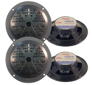 4 New Pyle 100 Watts 5.25'' Black Marine Boat Yacht Waterproof Speakers System