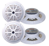 4 New Pyle 100 Watts 5.25'' White Marine Boat Yacht Waterproof Speaker System