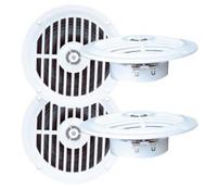 2 Pairs 5.25'' 100 Watt White Marine Boat Yacht Waterproof Speaker System Pkg