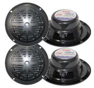 2 Pairs New Pyle 120 Watts 6.5'' Black Marine Boat Yacht Waterproof Speakers Pkg