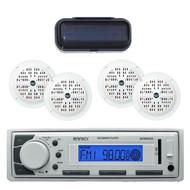 "EKMR20WT Marine In-Dash Radio MP3 & USB SD AUX iPod w/4 x 4"" Speakers & Cover - MPE2002"