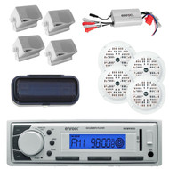 Enrock Marine Radio AUX/USB iPod Receiver 800W Amp, Round & Box Speakers, Cover - MPE2006