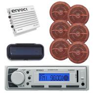 New Enrock Marine FM/AM MP3 USB Receiver, 800W Amp,4 Wood Like Speakers, Cover - MPE2041