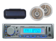 Enrock Silver Marine InDash MP3 USB SD AUX iPod Input Receiver+2 Silver Speakers - MPE3019
