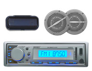 New Enrock Marine Boat AM/FM MP3 USB SD Stereo System W/Cover +2 Marine Speakers - MPE9406