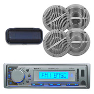 EKMR20SL Boat Marine AM/FM USB AUX MP3 SD Radio + Cover + 4  White Wave Speakers - MPE9407