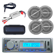Best Ever Marine CD MP3 Silver Stereo Radio W/Cover +800W Amp 4 Speakers/Antenna - MPE9408