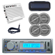 New EKMR20SL Boat Stereo AM/FM Radio Player W/Cover +400W Amp/Antenna 4 Speakers - MPE9409