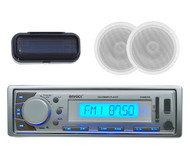 Silver Marine Yacht Radio MP3/USB/SD/AUX iPod Receiver +2 Speakers & Radio Cover - MPE9410