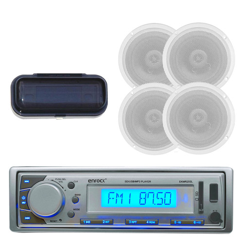 EKMR20SL Marine Boat Radio MP3/USB/SD/AUX iPod Receiver W/Cover + 4 New Speakers - MPE9411