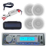 New Enrock Silver Marine MP3 USB FM/AM Radio/Cover 800W Amp 4 Speakers & Antenna - MPE9412