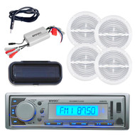 Enrock Marine Silver AM/FM MP3 USB Receiver w/Cover 4 220W Speakers+ Amp/Antenna - MPE9416