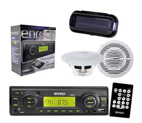 Enrock EKMRB11 InDash Boat Marine MP3 USB SD Receiver w/Cover, 2 x 150W Speakers - MPE9801