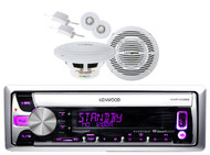 New KMR-D358 Marine Boat CD/MP3 USB iPod iPhone Pandora + 2 Component Speakers - MPK3801