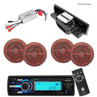 DSXMS60 Marine MP3 AUX USB iPod Waterproof Radio 4 Wood Grain Speakers 800W Amp - MPS6129