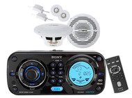New Sony CDXH910UI Waterproof Marine CD MP3 iPod iPhone Radio Stereo w/2 Speaker - MPS9001