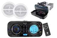 "Sony CDXH910UI Waterproof Marine CD MP3 iPod iPhone Radio Stereo 2 6.5"" Speakers - MPS9021"
