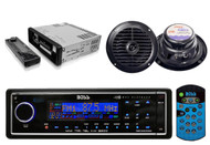 "Boss Black Audio Marine MP3 AUX SD Receiver 2 6.5"" Blk 120W Waterproof speakers - RBMPB1722"