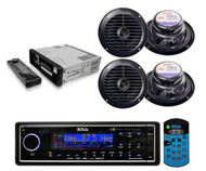 "Black Marine Yacht USB/MP3 AM/FM Radio AUX SD Card Player 4 X 6.5"" speakers Pkg - RBMPB1723"