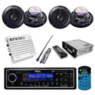 BOSS Marine Waterproof Blk USB AUX AM/FM Receiver + 400W Amp 4 Speakers+ Antenna - RBMPB1725