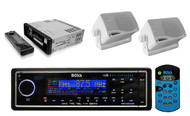 BOSS Black 1 Din AM/FM USB AUX iPhod Digital Receiver with 2 X 200W Box Speakers - RBMPB1726