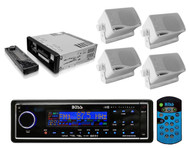 Boss Audio Blk In Dash Digital Marine Receiver and 4-200W 3.5 White Box Speakers - RBMPB1727