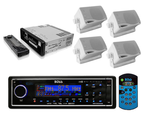Boss Audio Blk In Dash Digital Marine Receiver and 4-200W 3.5 White Box Speakers - RBMPB1727