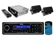InDash Marine Yacht MP3 Digital Media Black Receiver+ 2x Black 200W Box Speakers - RBMPB1730