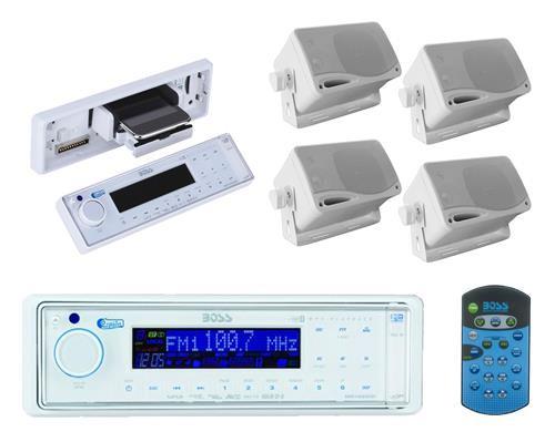 Boss Audio In Dash Digital Marine Receiver and 4x 200W 3.5 White Box Speakers - MPB5627