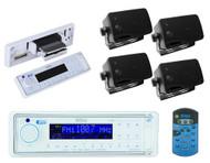 Boss Audio MR1560Di Marine AM/FM USB/MP3 AUX Radio and 4 Black 200W Box Speakers - MPB5631