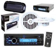 "Sony CDXM20 Marine Boat Yacht CD MP3 Radio w/5.25"" Speakers & Stereo Cover Kit - MPS2058"