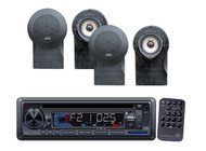 New Pyle Marine AM/FM USB/SD iPod AUX Receiver Stereo Player & 4 Marine Speakers