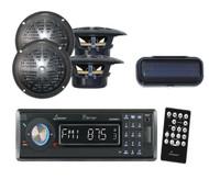 "Indash Marine Boat CD/MP3/USB Receiver W/Bluetooth+ 4 x 4"" Black Speakers,Cover"