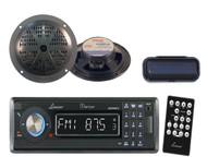 "CD MP3 AM/FM USB SD Black Radio w/2  5.25"" Black 100W Speakers and Radio Cover"