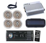 Black Lanzar Marine CD AUX USB Radio,2 x Silver Speakers,Antenna,Cover, 400W Amp