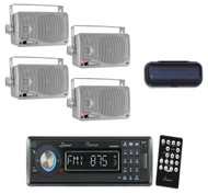 Black Marine AUX CD USB AM/FM Receiver+ 4 Silver 200W Box Speakers, Stereo Cover