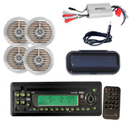 """New Boat AM/FM-MPX In-Dash CD/MP3 Player, 5.25"""" Speakers, 4 Ch 800W Amp, Antenna"""
