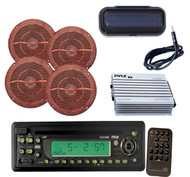 """New In-Dash Boat CD/MP3 Player,  6.5"""" Wood Look Speakers,4 Ch 400W Amp,Antenna"""